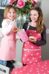 Children's Aprons - Small Pink Heart and Spotty Candy Pink Aprons